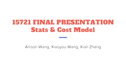[PRESENTATION] Statistics + Cost Model