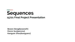 [PRESENTATION] Sequences